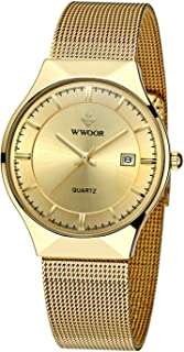 Wwoor Men Steel Mesh Quartz Date Watches Ultra Thin Gold