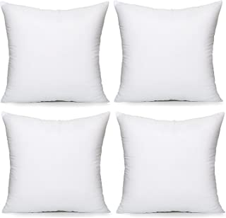 """Acanva Hypoallergenic Pillow Insert Form Cushion, Square, 20"""" L x 20"""" W, Pack of 4"""