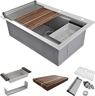 MOWA 33 x 22 inch Workstation Topmount Kitchen Sink, Luxury Drop In Workstation Sink -Pack of 7 w/ 17.5