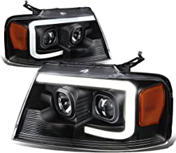 For Ford F150 / Lincoln Mark LT Black Housing Amber Corner 3D LED DRL Projector Headlight Lamp