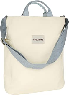 Wrapables Women's Canvas Tote Bag, Casual Cross Body Shoulder Handbag, Cream, One Size