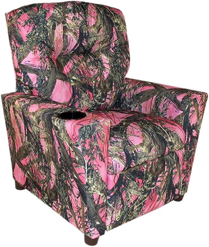 Dozydotes Child Recliner With Cup Holder Camouflage Pink True Timber DZD11820