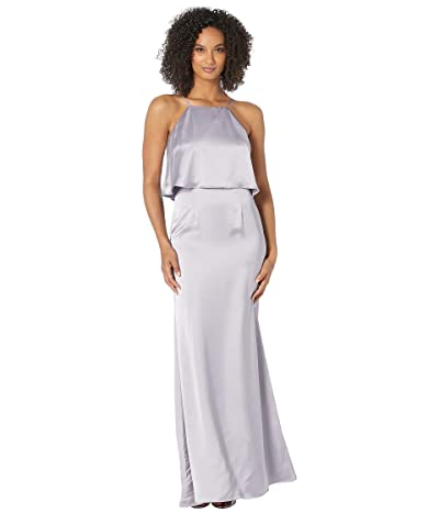 Adrianna Papell Satin Halter Popover Evening Gown (Lilac Grey) Women