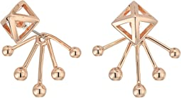 Pyramid Fan Back Ear Jacket Earrings
