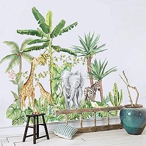 Supzone Tropical Rainforest Wall Sticker Jungle Animal Wall Decal Elephant Giraffe Zebra Palm Tree Wall Decor DIY Vinyl Mural Art for Bedroom Living Room Sofa TV Backdrop Wall Decoration