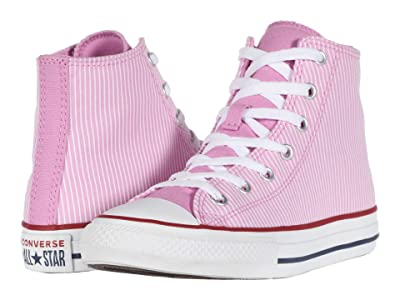 Converse Kids Chuck Taylor(r) All Star(r) Pinstripe (Little Kid/Big Kid) (Peony Pink/Garnet/White) Girl
