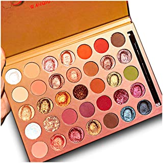 Pro 35 Colors Glitter Eyeshadow Palette,Professional Fine Pressed Soft Creamy Metallic Matte Shimmer Glitter Ultra Eye Shadow Powder Waterproof Highly Pigmented Makeup Pallet with Eyeshadow Brushes