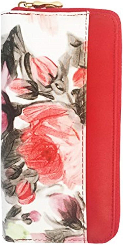 Vera Women's Floral Zip Vegan Leather Clutch Wallet