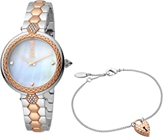 Just Cavalli Pearl Dial Stainless Steel Analog Watch Bracelet Set For Women