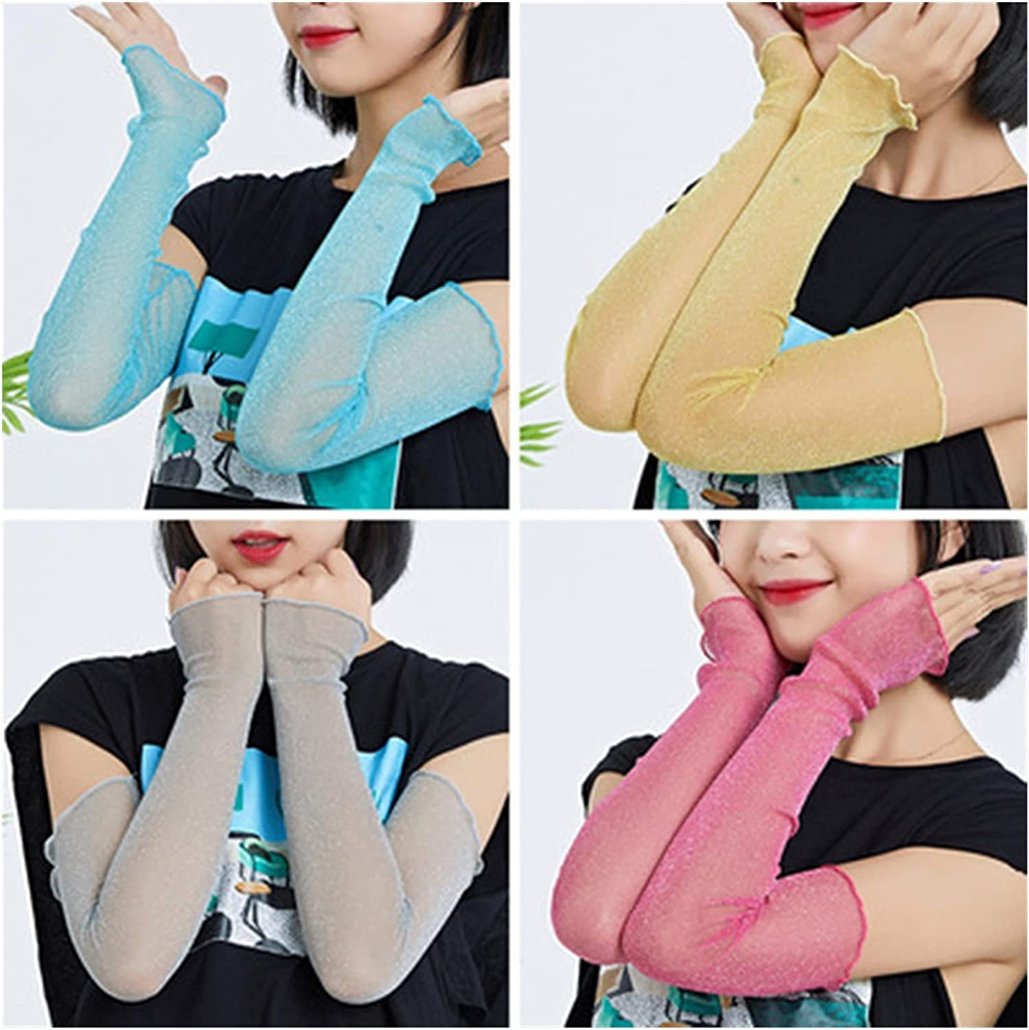 Female Summer Sunscreen Glove Women's Pure Color Ice Silk Sleeves Sexy Lace Thin Long Mesh (Color : Rose Red, Gloves Size : One Size)