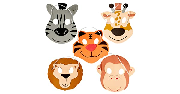 by Katzco Good for Kids Costume Parties 12 Foam Animal Masks 7.5 Inch 4 Different Sorts of Animals