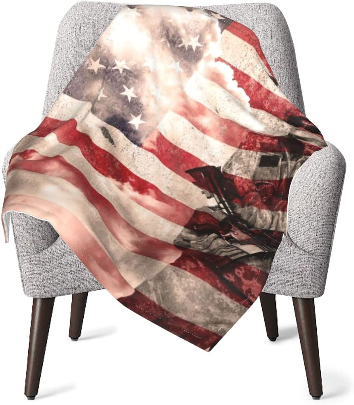 OFFer Baby Blanket Soldier with Rifle On Bed Inventory cleanup selling sale Blankets Nursery Us Flag