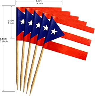 200 Pcs Toothpick Cupcake Toppers Puerto Rico Puerto Rican Flag,Mini Fruit Food Toothpick Flag,Cocktail Party Dinner Celebration Decoration.