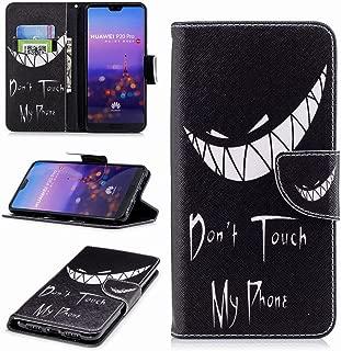 Laybomo Huawei P20 Pro ケース 手帳型 高級PUレザー マグネット スタンド機能 カード収納付き 軽量 薄型 耐衝撃 耐摩擦 スマホケース 財布型カバー, Don't Touch My Phone 印刷