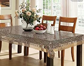Kuber Industries PVC 6 Seater 3D Transparent Dining Table Cover - Gold