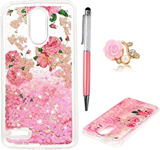 LG Stylo 3 Case, Liquid Glitter Case Bling Sparkle Flowing Love Heart Cover Dual Layer Clear Soft TPU Bumper Shockproof Drop Skin for LG Stylo 3 ZSTVIVA - Pink Rose Flower