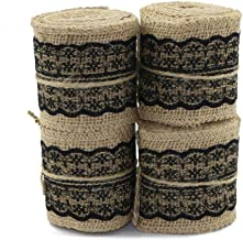 PIXNOR Natural Jute Lace Burlap Rolls Ribbon Crafts Home Wedding Christmas Decor M Cm Pieces Black