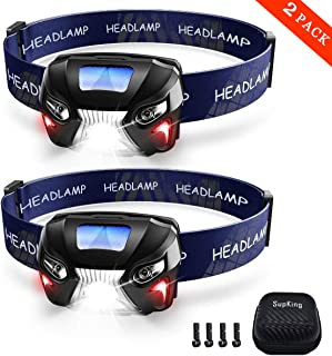 SupKing 2-PACK Headlamp,Brightest LED Headlight,Adjustable Work Light,USB Rechargeable Flashlight,With Red Light,Easy to Carry,8 Helmet Clips Free,Head Lamp for Camping,Hunting,construction site