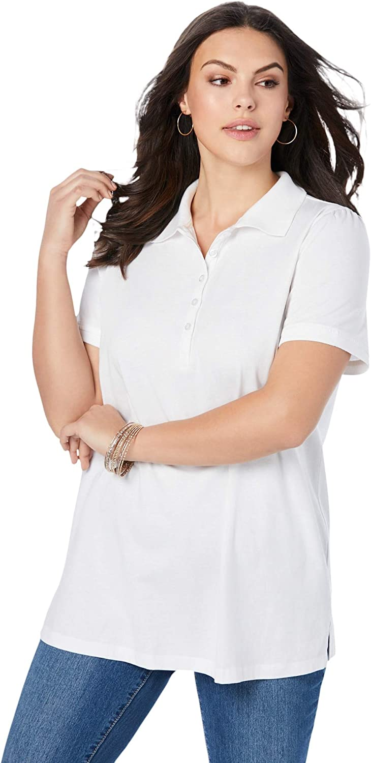 Roamans Women's Max 42% OFF Plus Size Polo Tee Shirt Ultimate Cotton In stock 100%