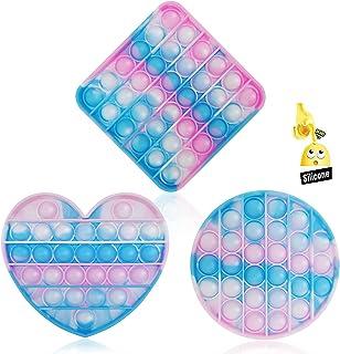 3PC Pop Bubble Fidget Sensory اسباب بازی Toy استرس تسکین دهنده و ضد اضطراب برای کودکان و بزرگسالان , اوتیسم نیازهای ویژه استرس ضد استرس فشار دادن اسباب بازی سیلیکونی (آبی