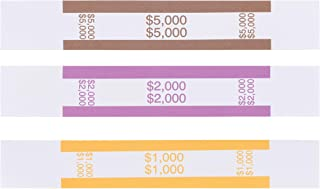 Currency Bands - 300-Count Assorted Bill Wrappers, Money Bands, Currency Straps to Organize Bills, ABA Standard Colors, Self-Adhesive, 1000, 2000, and $5000, 7.55 x 1.25 Inches