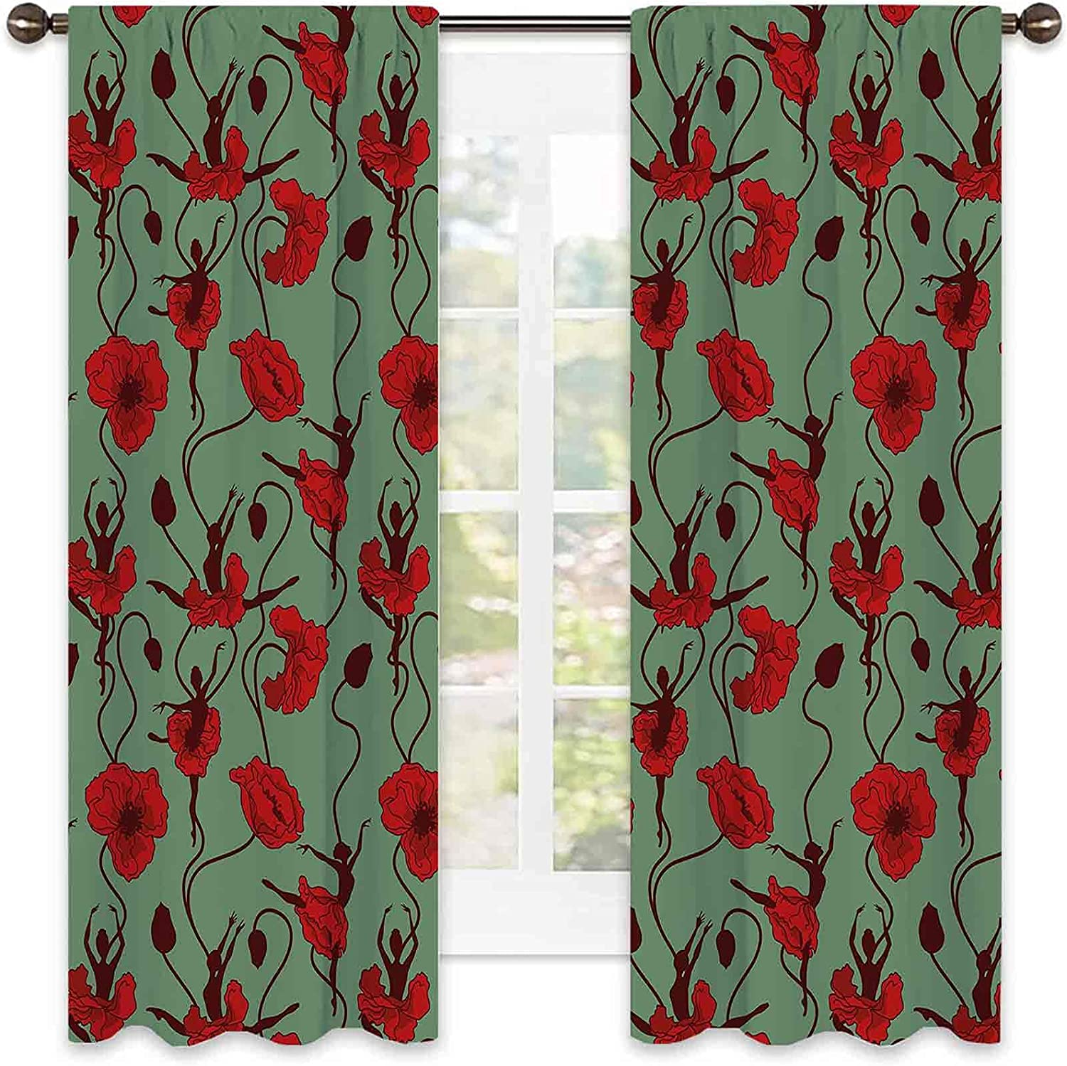 Poppy Heat Insulation Curtain with Max 49% OFF Charlotte Mall Arrangement Floral Abstract