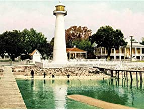 Wee Blue Coo Vintage Photography Added Colour Biloxi Lighthouse Mississippi USA Art Print Framed Poster Wall Decor 12x16 inch 12 x 16 Inch UFUBBB10128