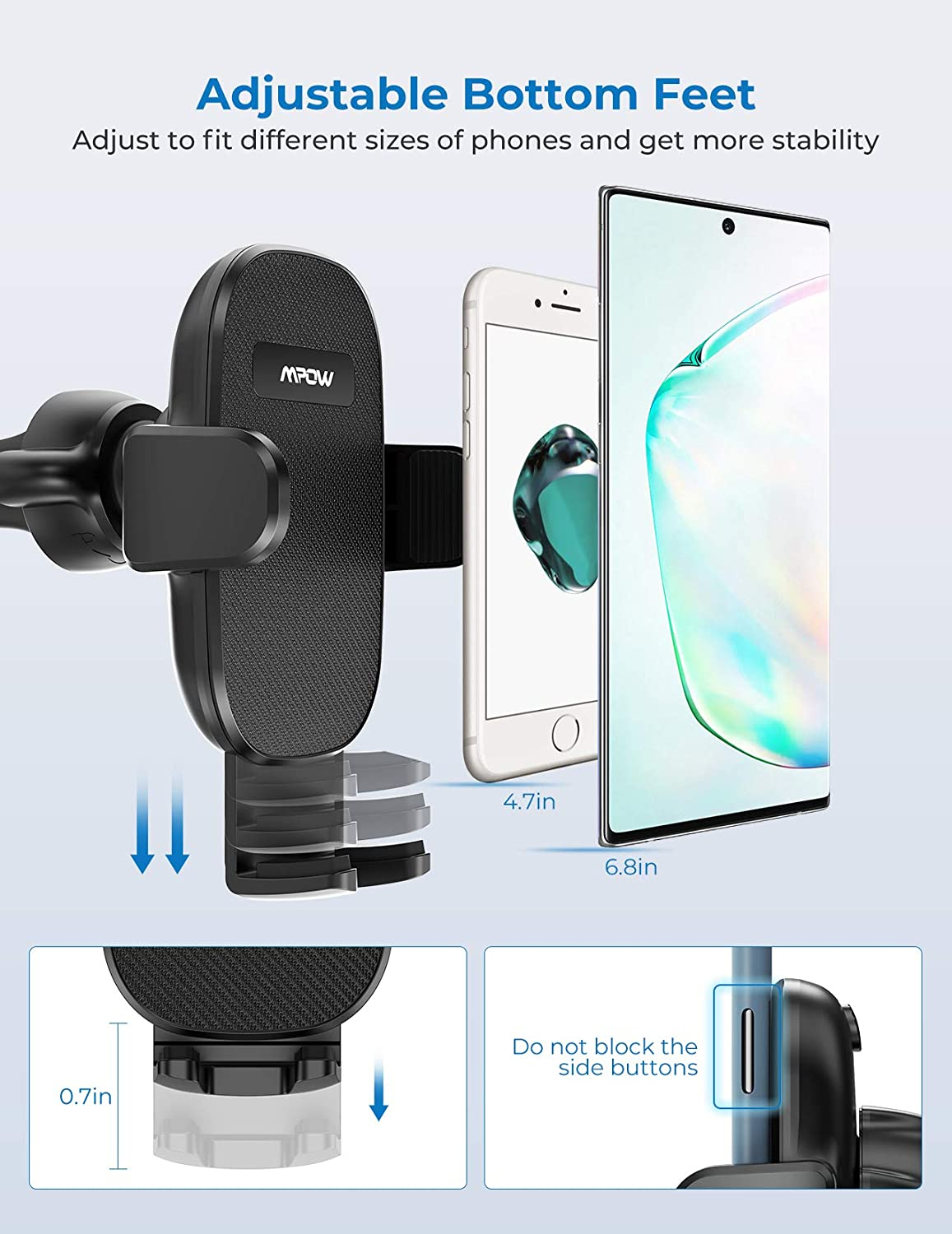 Mpow No Obstruction View Dashboard Car Phone Mount with Sticky Gel ...