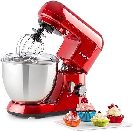 Klarstein Bella Pico Mini • Robot de cocina • Batidor • Amasador • 550 W Nominal • 800 W Pico Máx • 6 niveles • 4 Litros • Brazo multifunción • Sistema planetario • Acero inoxidable • Rojo