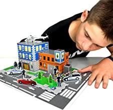 Police Station Educational Toys for Kids Creativity Kit (Cut, Glue, Color, Play, Create Your Own Cartoon) Playset (Helicopter, Cars, People) - 3D Puzzles for Kids Ages 5 6 7 8 9 10 + for Boys & Girls