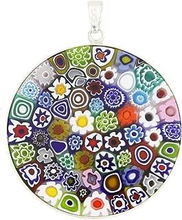 Murano Glass Millefiori Pendant Necklace Multicolor in Silver Frame 1-1/2 inch for Women Handmade in Italy