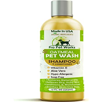 All Natural & Organic Oatmeal Puppy/Pet Shampoo + Conditioner-Hypoallergenic and Soap Free Blend with Almond Oil for Allergies & Sensitive Skin-17oz