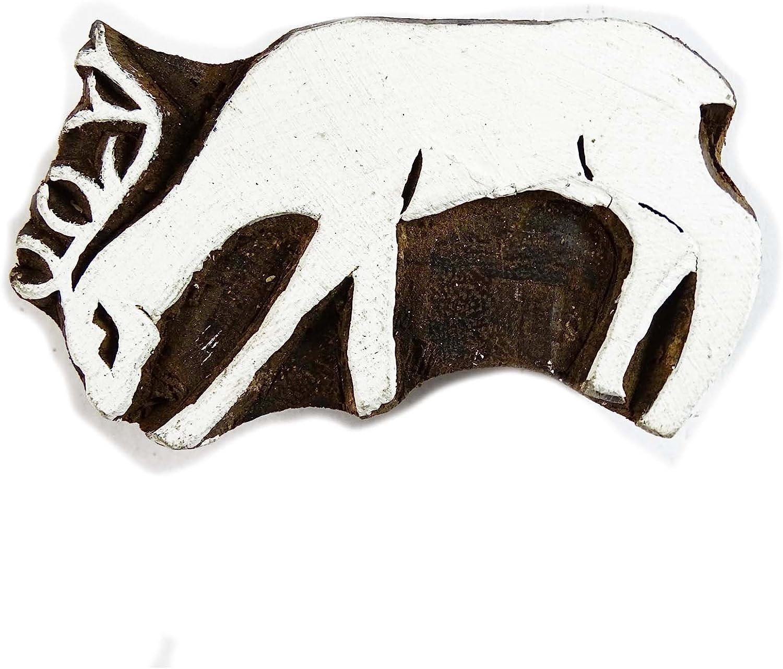 Philadelphia Mall Brown Hand Carved Printing Block Finally resale start Deer Stamp Textile Wooden