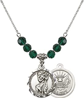 Bonyak Jewelry 18 Inch Rhodium Plated Necklace w/ 6mm Green May Birth Month Stone Beads and Saint Christopher/Navy Charm