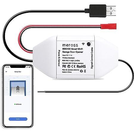 Meross Wi-Fi Controlador de Puerta de Garaje. Se Puede Usar con el Control Remoto Original de la Puerta de Garaje Existente. Compatible con Alexa, Google Assistant y SmartThings.