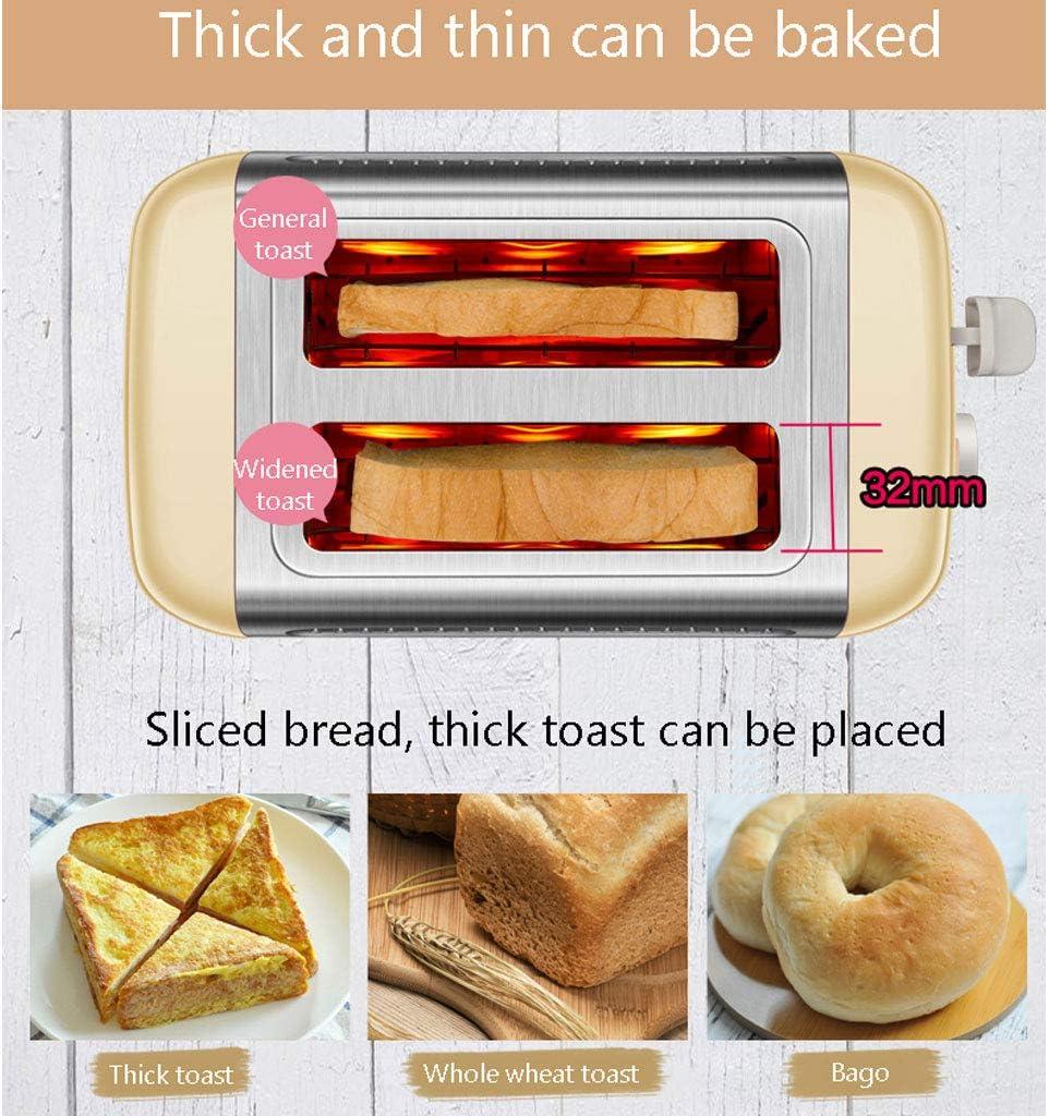 2 Toasters Tranche Les Mieux Notés Prime 6 Pain Ombre Réglages Bagel/Defrost/Réchauffer/Annuler Fonction Amovible Tiroir Ramasse-Miettes pour Divers Types De Pain,Jaune Yellow