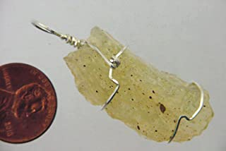 Sterling Silver Hand Wire Wrapped Libyan Desert Glass Tektite Meteorite Pendant with SP chain