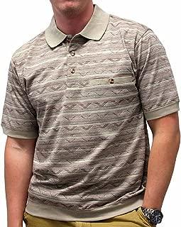 Safe Harbor Allover Short Sleeve Banded Bottom Shirt - Khaki 6191-328
