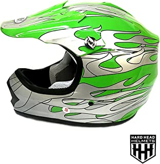 SmartDealsNow DOT Youth & Kids Helmet for Dirtbike ATV Motocross MX Offroad Motorcyle Street bike Flat Matte Black Helmet (Small, Green Flame)