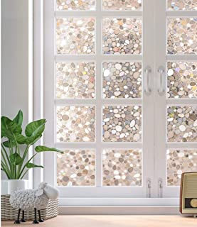 Rabbitgoo Decorative Window Film No Adhesive, Frosted Privacy Films for Glass Windows & Doors, Window Covering Film for Home Office Privacy & Window Decals (3D Pebbles, 23.6 x 78.7 inches)