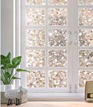 Rabbitgoo Privacy Window Film Decorative Window Film Static Cling Glass Film 3D Pebble Glass Film for Home Office 35.4