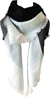 Womens Warm Long Shawl Wraps Large Scarves Knit Cashmere Feel Plaid Triangle Scarf