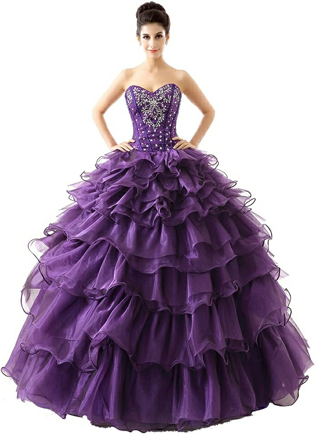 Lavaring Women's Organza Sweetheart Prom Dress Ball Gown with Ruffles
