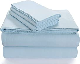 Tribeca Living King Luxury Solid Flannel Deep Pocket Sheet Set, Sky Blue