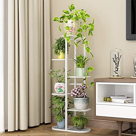 42 inches Metal 6 Tier 7 Potted Plant Stand Multiple Flower Pot Holder Shelves Planter Rack Storage Organizer Display for Indoor Outdoor Garden Balcony
