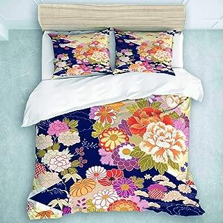 MIGAGA Duvet Cover Set, Orange Japanese Traditional Kimono Motifs Pattern Flower Oriental, Decorative 3 Piece Bedding Set with 2 Pillow Shams