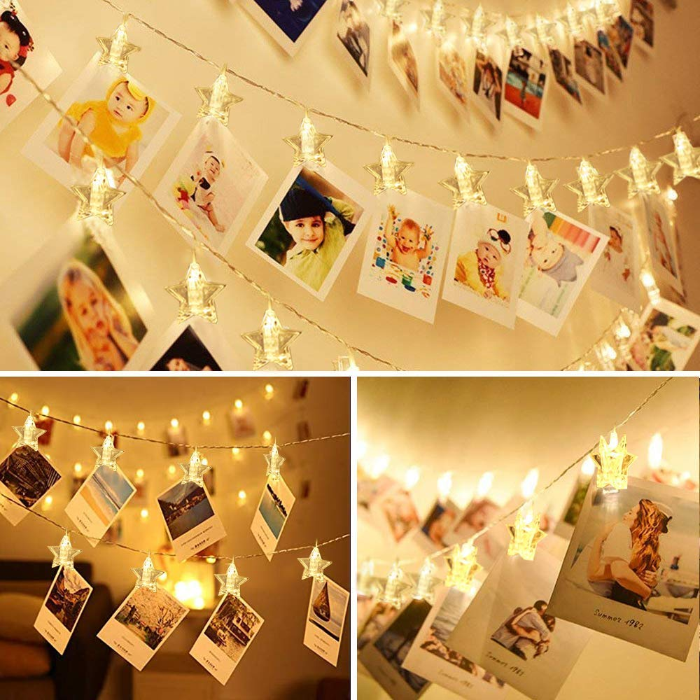 Dorm decor 8 Modes Picture i.VALUX Hanging Lights for Bedroom Aiseeny Fairy Lights Battery Operated /& USB Powered 6 Wall Hooks 40 LED Photo Clips String Light 16.5ft Photo String Lights with Clips