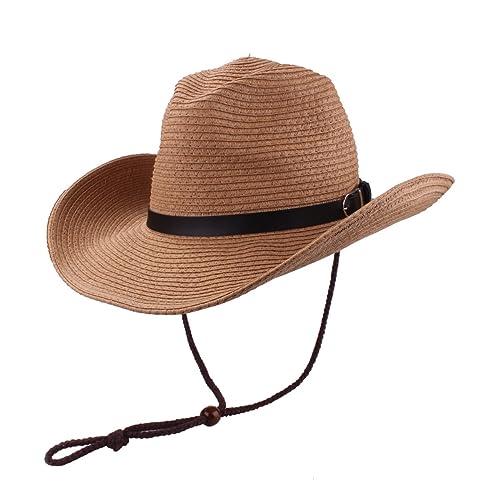 737bf2dc3e9 Men s Cowboy Hat Straw Sunhat Wide Brim Western Cowgirl Beach Sun Caps