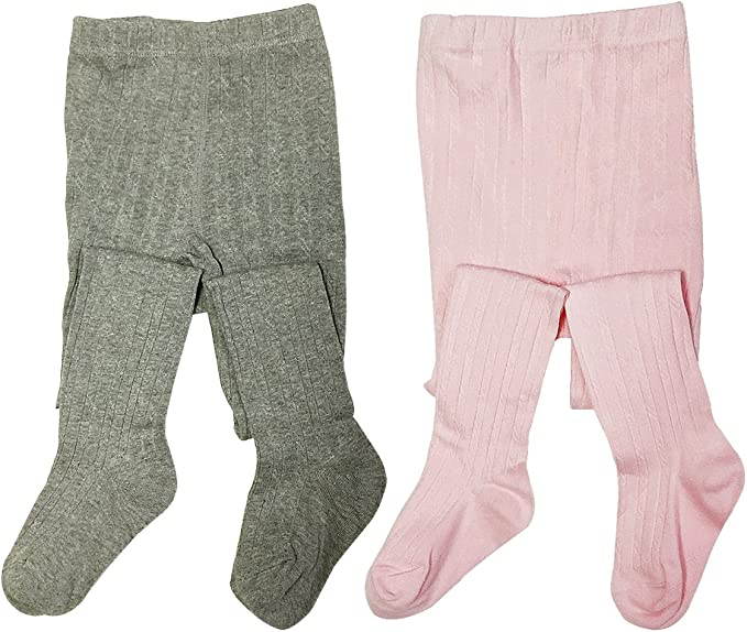 Set of 2 Wrapables Thick Winter Cotton Ribbed Tights for Girls