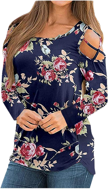 FABIURT Women Long Sleeve Tops, Womens Floral Printed Off-Shoulder Long Sleeve Sweatshirt Casual Loose Pullover Blouses